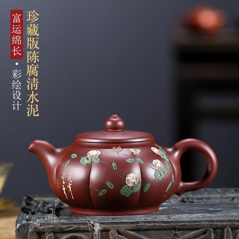 Recomendado yixing famoso mineral todas las manos fu yun long pintado florero tetera kung fu juego de té