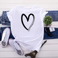 heart print fine line korean t shirt women fashion tops shirts short sleeve round nack t shirts leisure top tee casual ladies