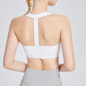 Nylon Fabric Breathable Ladies Yoga Top Bra Solid Sexy Sportswear Shockproof Outdoor Sports Running Quick-drying Fitness Vest