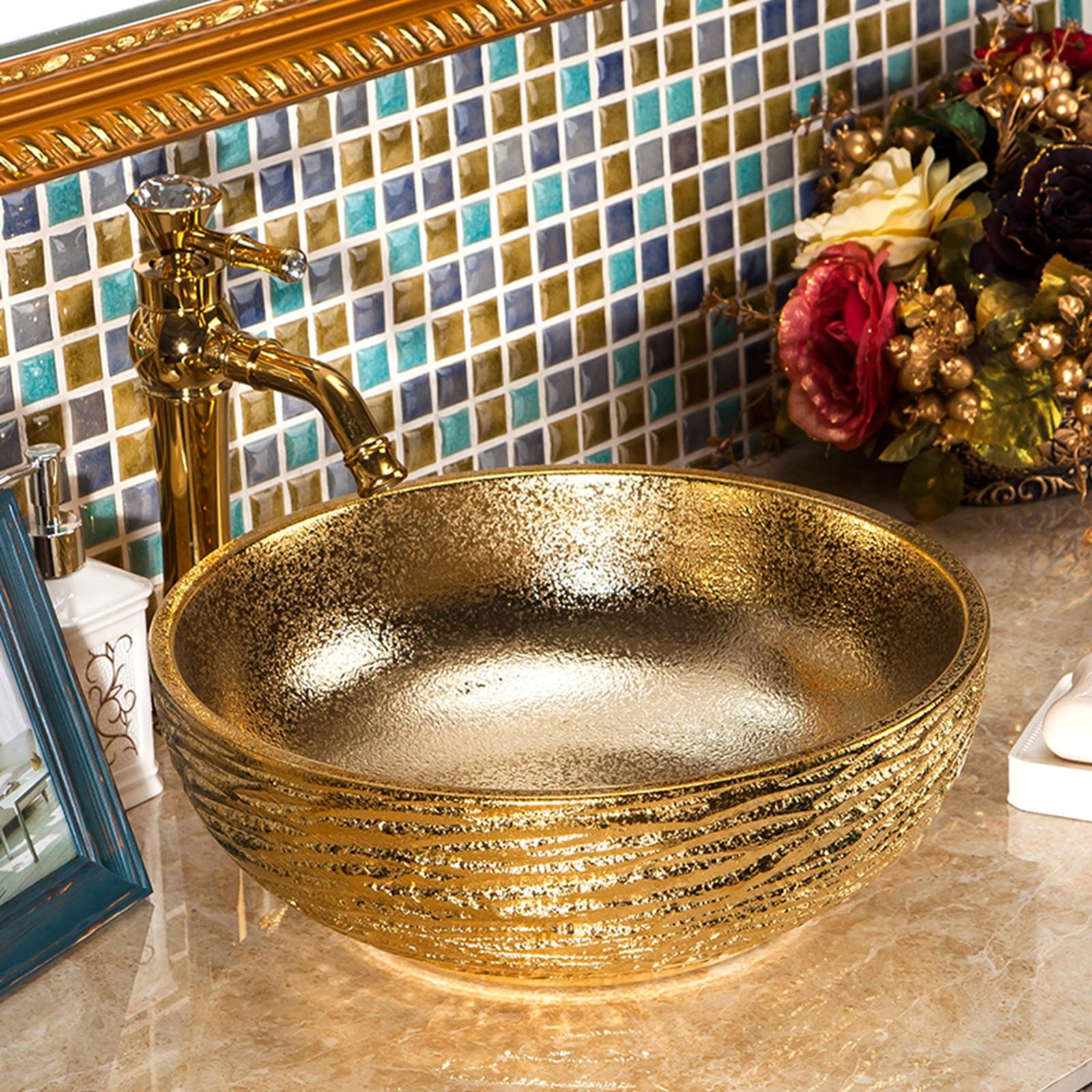 شحن مجاني فاخر اليد التي قدمت السيراميك الذهب المزجج الخزف الفن الحمام حوض غسيل السلطانية سفينة بالوعة