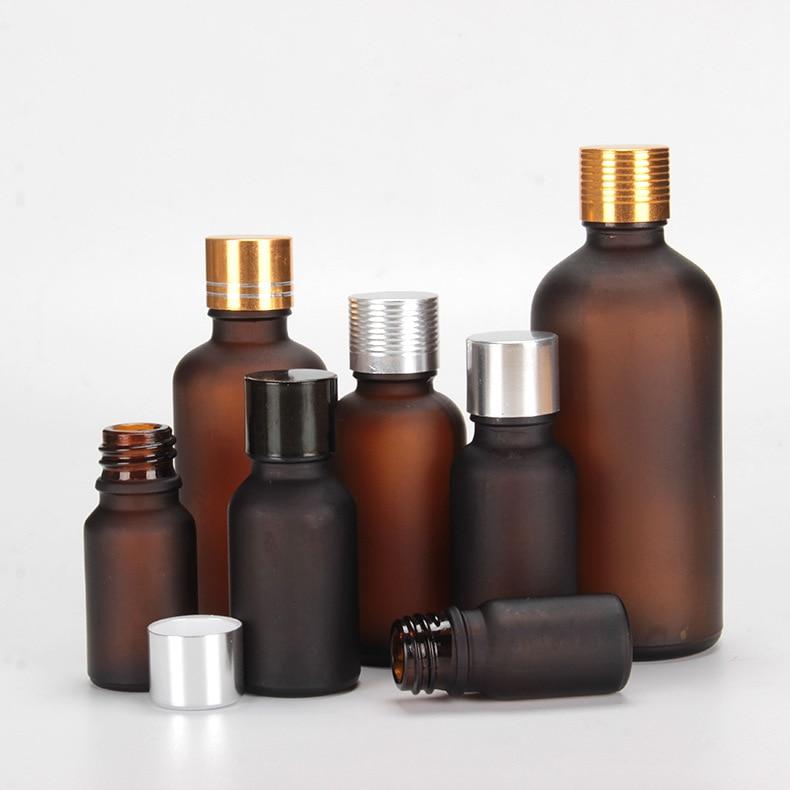 6PS/lot 5ml 10ml 15ml 20ml 30ml 50ml 100ml Dropper Bottle With Eye Pipette Empty Frost Amber Aromatherapy Essential Oils Bottle