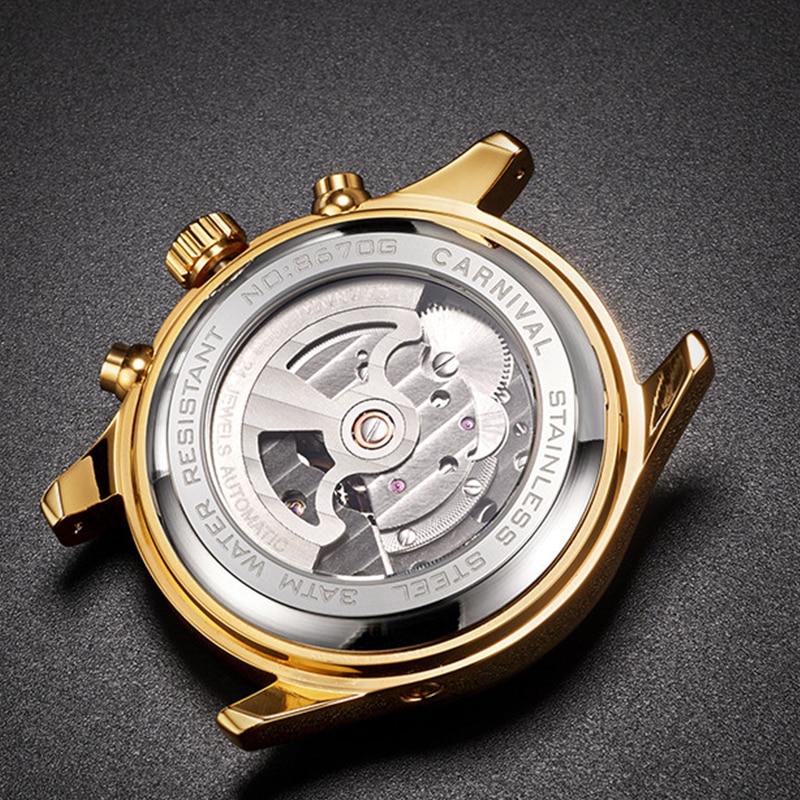 CARNIVAL 2021 New Fashion Casual Men's Calendar Week Month Display Mechanical Hollow Flywheel Automatic Waterproof Watches enlarge