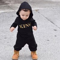 newborn infant baby boy girls clothes kids king print longshort sleeve hooded romper jumpsuit clothes outfits 0 24m