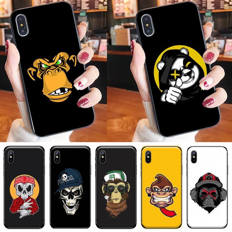 Animal da arte panda gorila urso caso de telefone para iphone 11 12 pro xs max 8 7 6s plus x 5S se 2020 xr