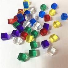 50 개/대 10mm 투명 한 다채로운 크리스탈 큐브 블록 빈 D6 주사위 체스 조각 퍼즐 보드 게임에 대 한 직각 체