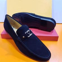 2021 New Men's High-quality Navy  Suede Metal Decoration Low-heel Comfortable Fashion Casual Classic