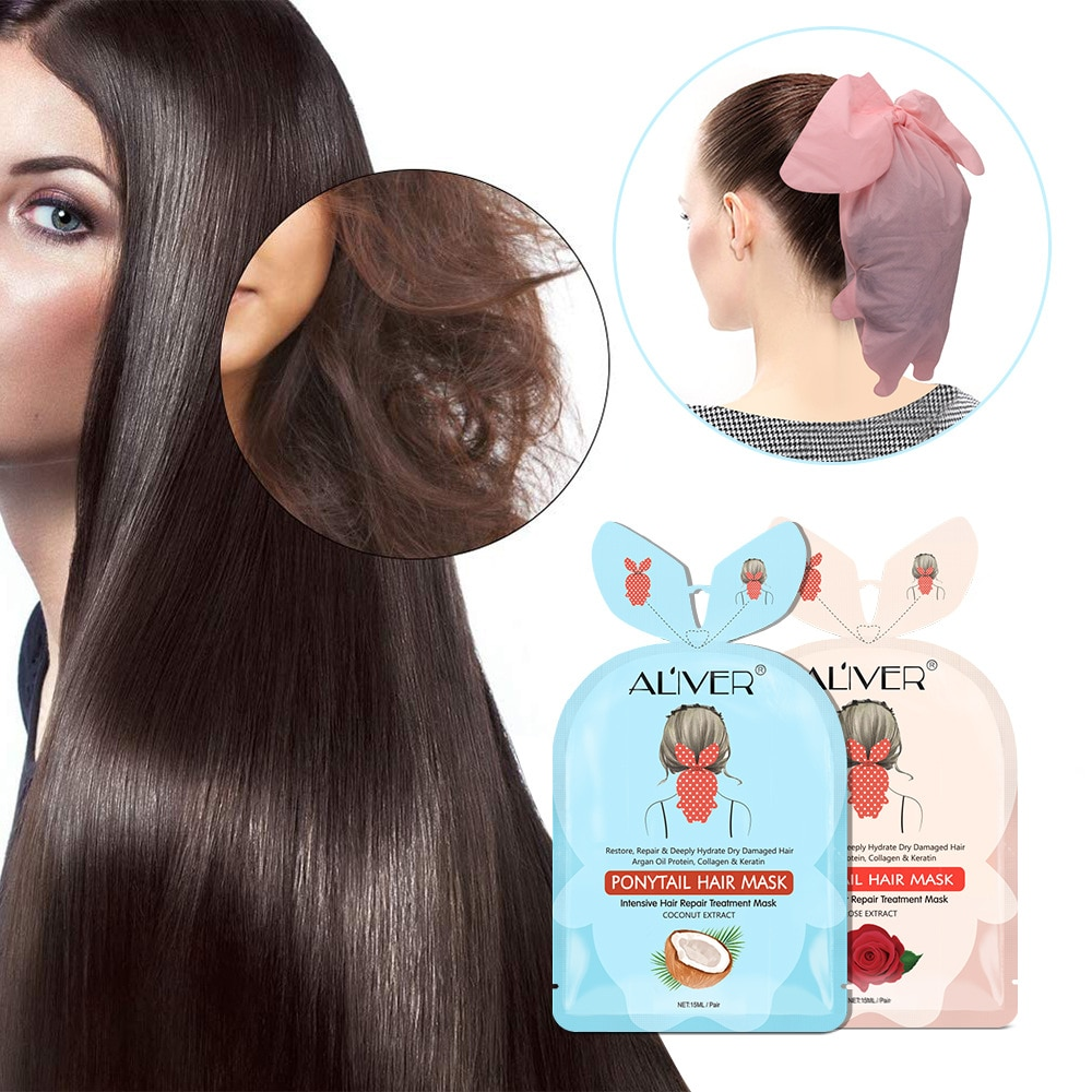 Máscara de lactancia de cola de pelo de alta calidad, bifurcación de pelo, Buttercup, cabello dañado seco, coco, nutrición profunda, reparación de membrana capilar