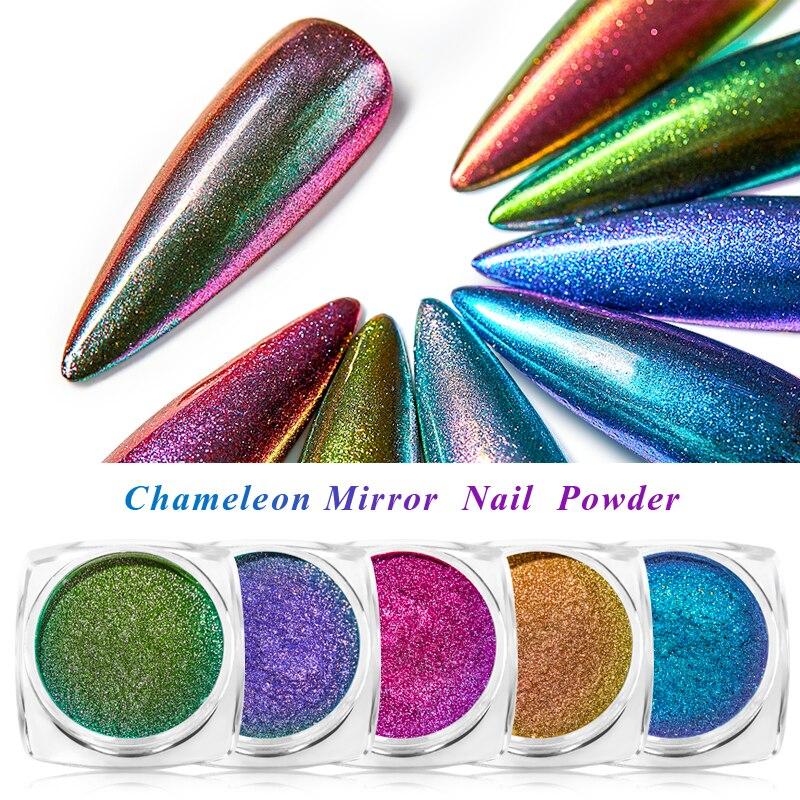 Set de 6 cajas de espejo de camaleón láser para polvos de brillo de uñas, pigmento de cromo brillante con degradado, polvo para decoración de diseño DIY