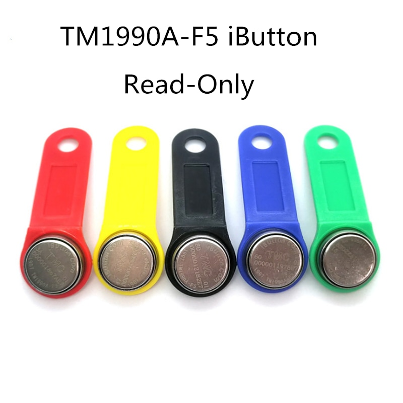 5 unids/lote Dallas DS1990A DS1990A-F5 iButton i-button 1990a-F5 llave electrónica IB tag tarjetas Fobs mango negro tarjetas TM