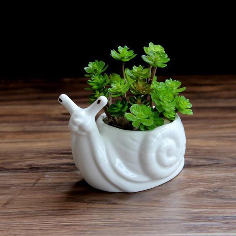 1pc desenhos animados animais bonsai potes jardim plantas de cerâmica branca bonito caracol forma vasos de flores porcelana escritório desktop decoração