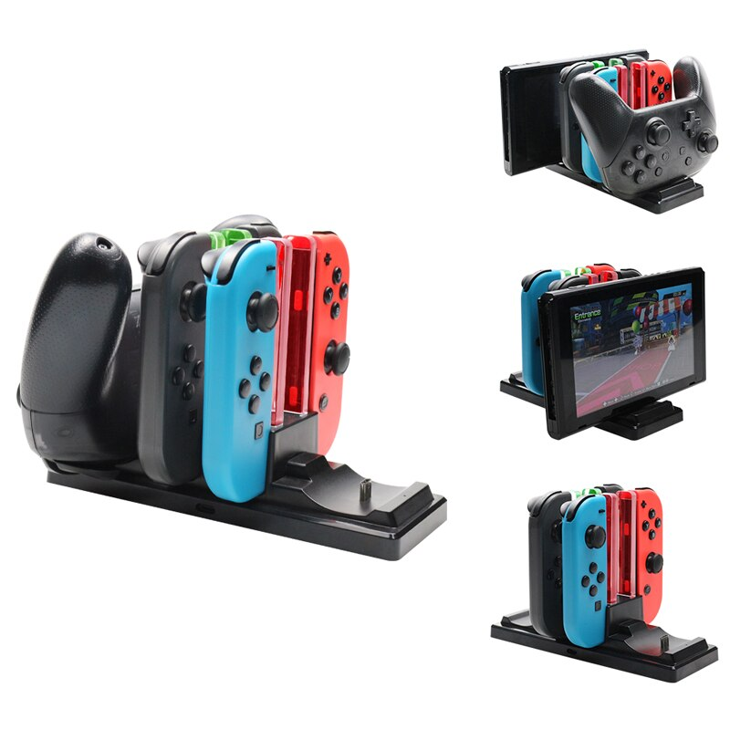 6 in1 Charging Dock Para Nintend Interruptor Interruptor Alegria-con Controlador LED Carregador Para Nintendo Pro Gamepad Charge Stand NS