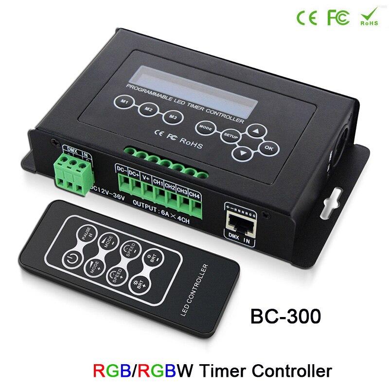 BC-300 Time programmable LED Controller RGB RGBW Tape Controller programmable Timer Light DMX 512 signal Controller DC12V-36V