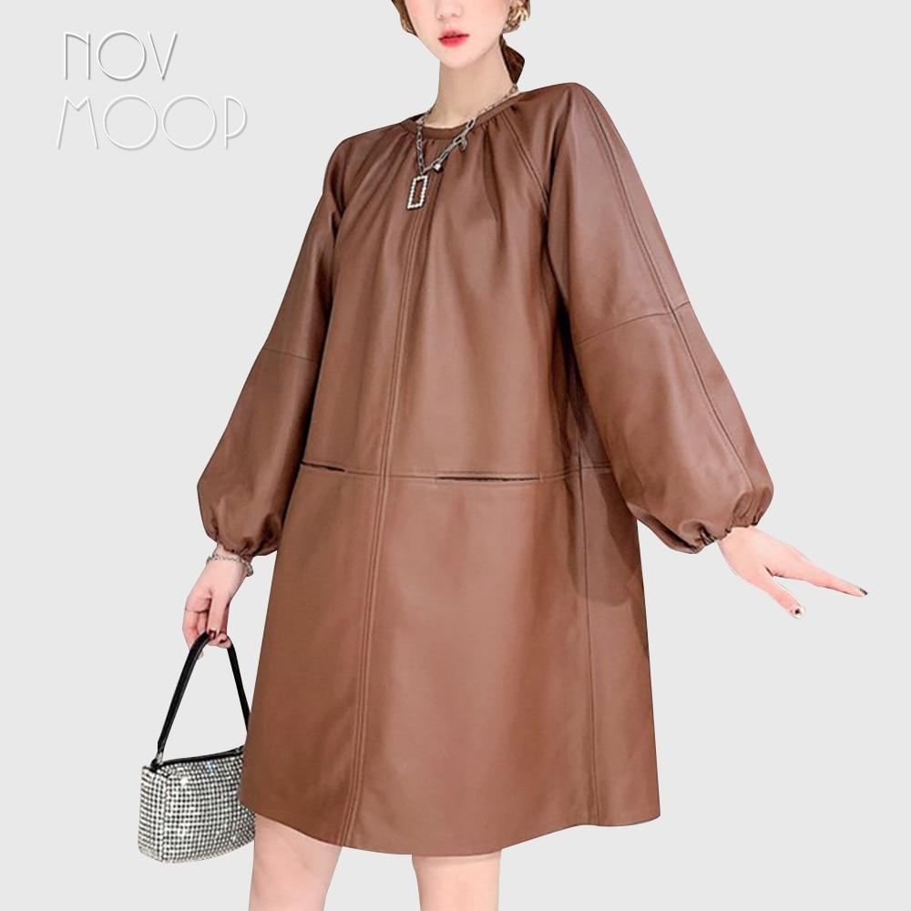 فستان نسائي من الجلد الطبيعي من Novmoop, فستان نسائي من الجلد الطبيعي على شكل حرف A بطول الركبة وأكمام فانوس ، طراز LT3395