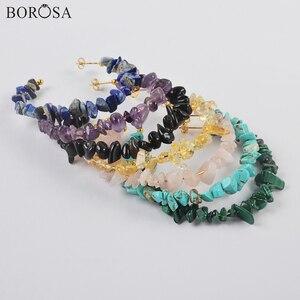 Boho Gems Stone Chips Earrings Natural Crystal Beads Handmade Earrings Amethysts Lapis Natural Stone Hoop Earrings Women HD0358