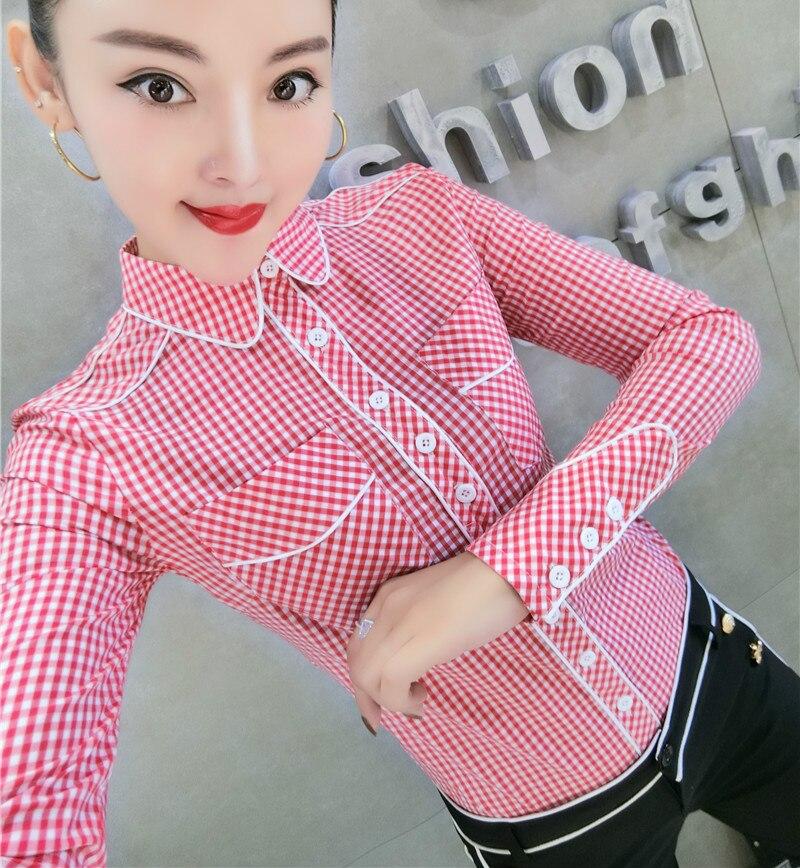 Otoño 2020 camisas de algodón rojo a cuadros de manga larga con cuello hacia abajo para trabajo de oficina para mujeres OL camisas de cuadros azules señora Oficina Tops a cuadros