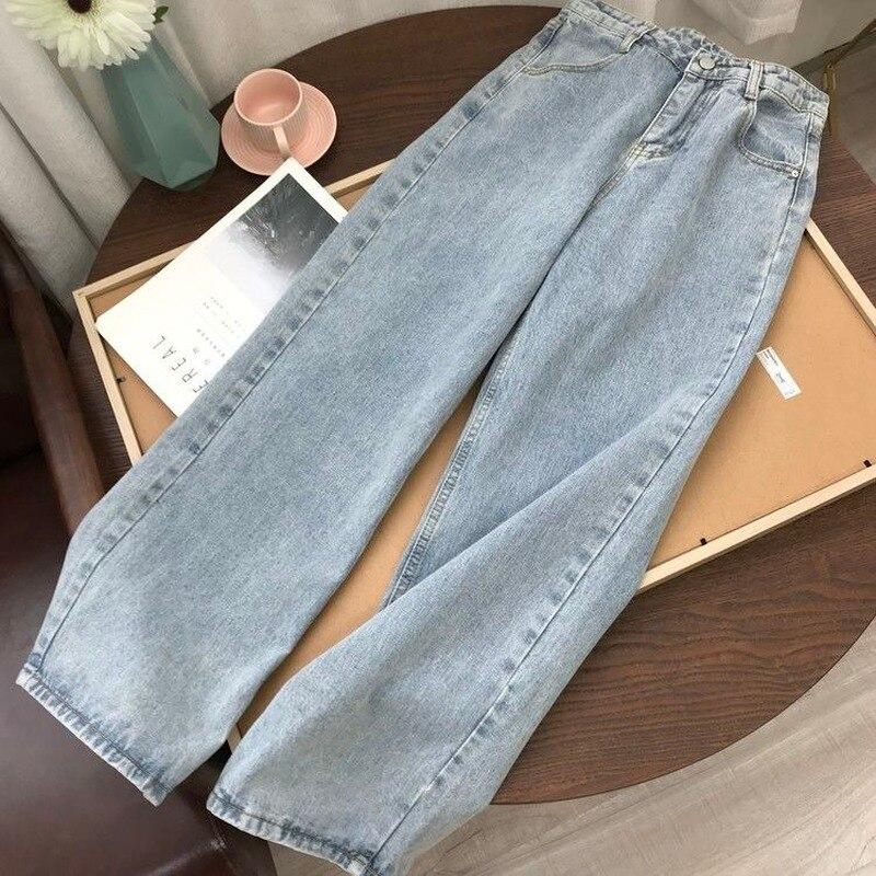 Light Blue Denim Trousers Vintage Wide Leg Pants Women Korean Straight Long Pants High Waist Casual Loose With Belt 2021