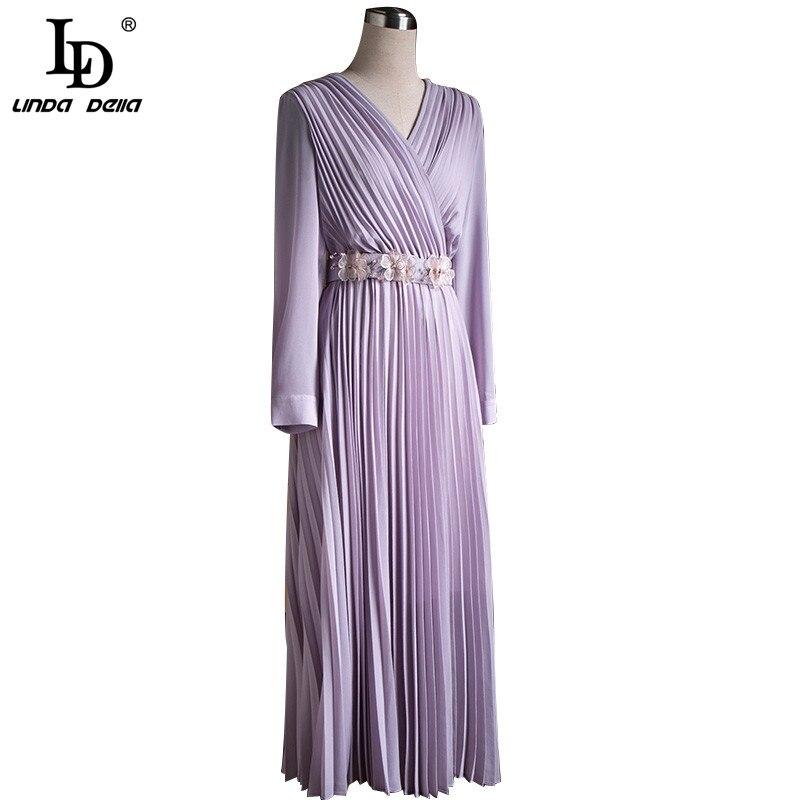 Женское платье средней длины LD LINDA DELLA, однотонное фиолетовое платье с v-образным вырезом и цветочной аппликацией в винтажном стиле, лето 2019