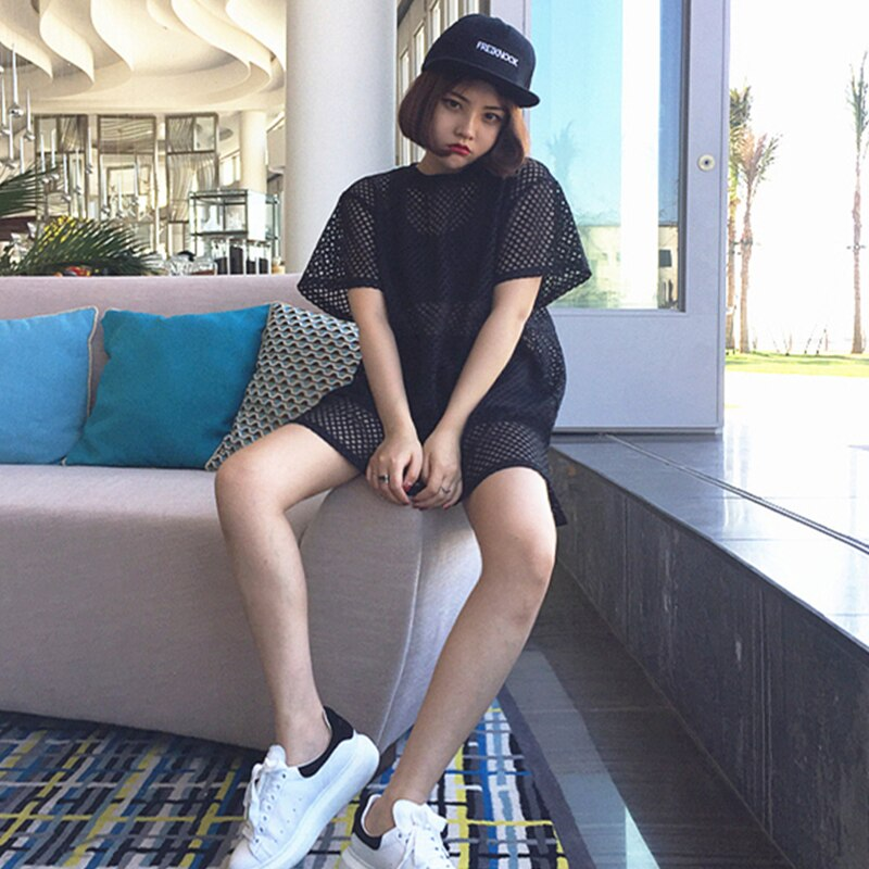 Camiseta de manga corta Mujer largo camiseta de red de pesca de...