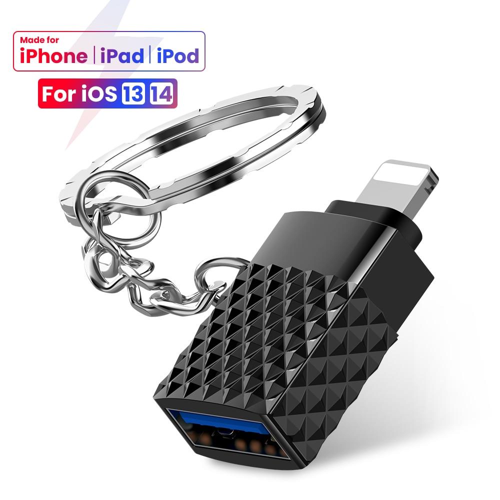 mini usb 30 para iluminacao 8 pinos para iphone otg adaptador com corrente chave