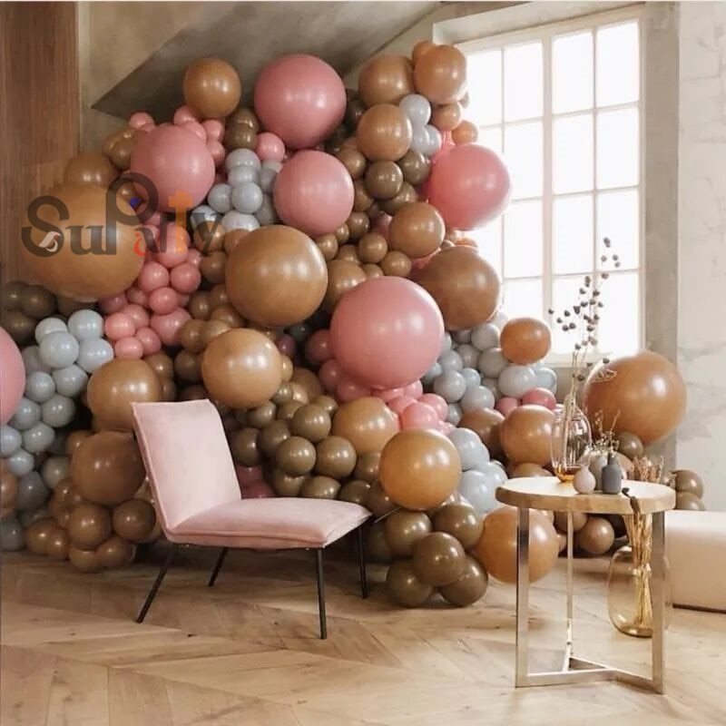 50pcs Caramelo de Café Presentes da Festa de Aniversário Balão Balões De Látex Rosa Empoeirado Backdrop Balão Arco Do Casamento Decoração Do Chá de Panela