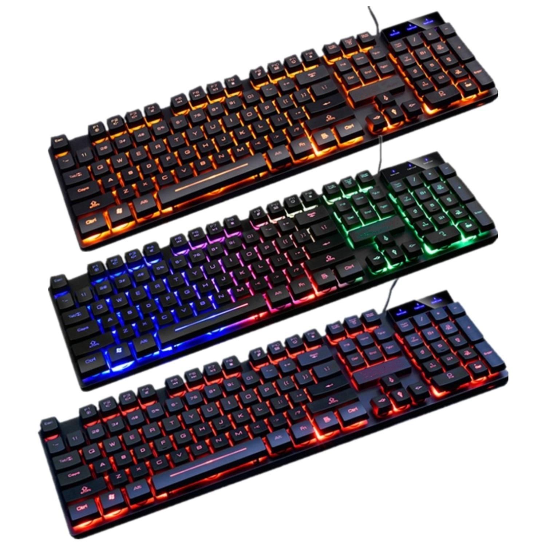 RGB الخلفية مريح لوحة مفاتيح الألعاب LED مضيئة قوس قزح للماء الوسائط المتعددة لوحات المفاتيح ل جهاز كمبيوتر شخصي ألعاب الكمبيوتر المحمول لوحة ا...
