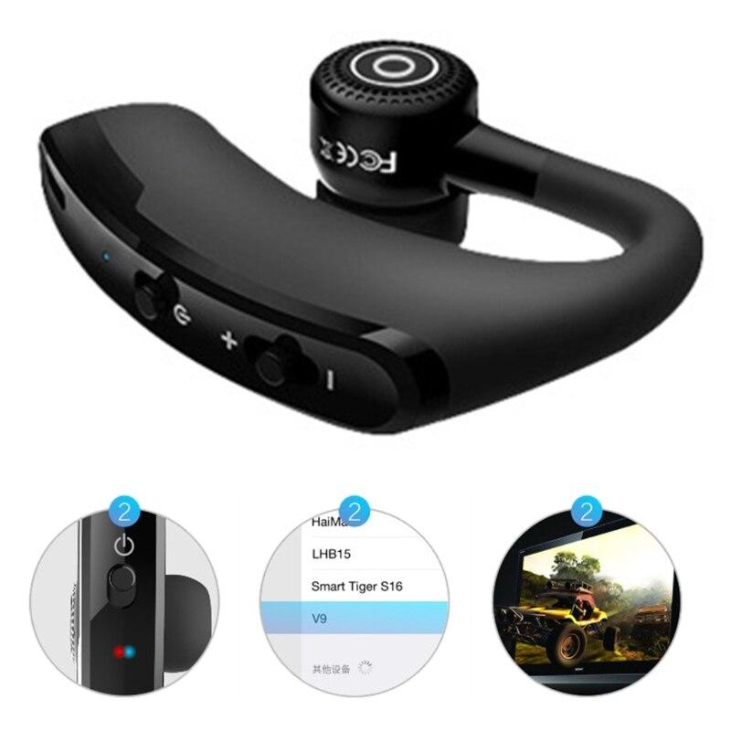 V9 handsfree earhook fone de ouvido sem fio bluetooth fone de ouvido único earbud chamador transmissão número negócios condução