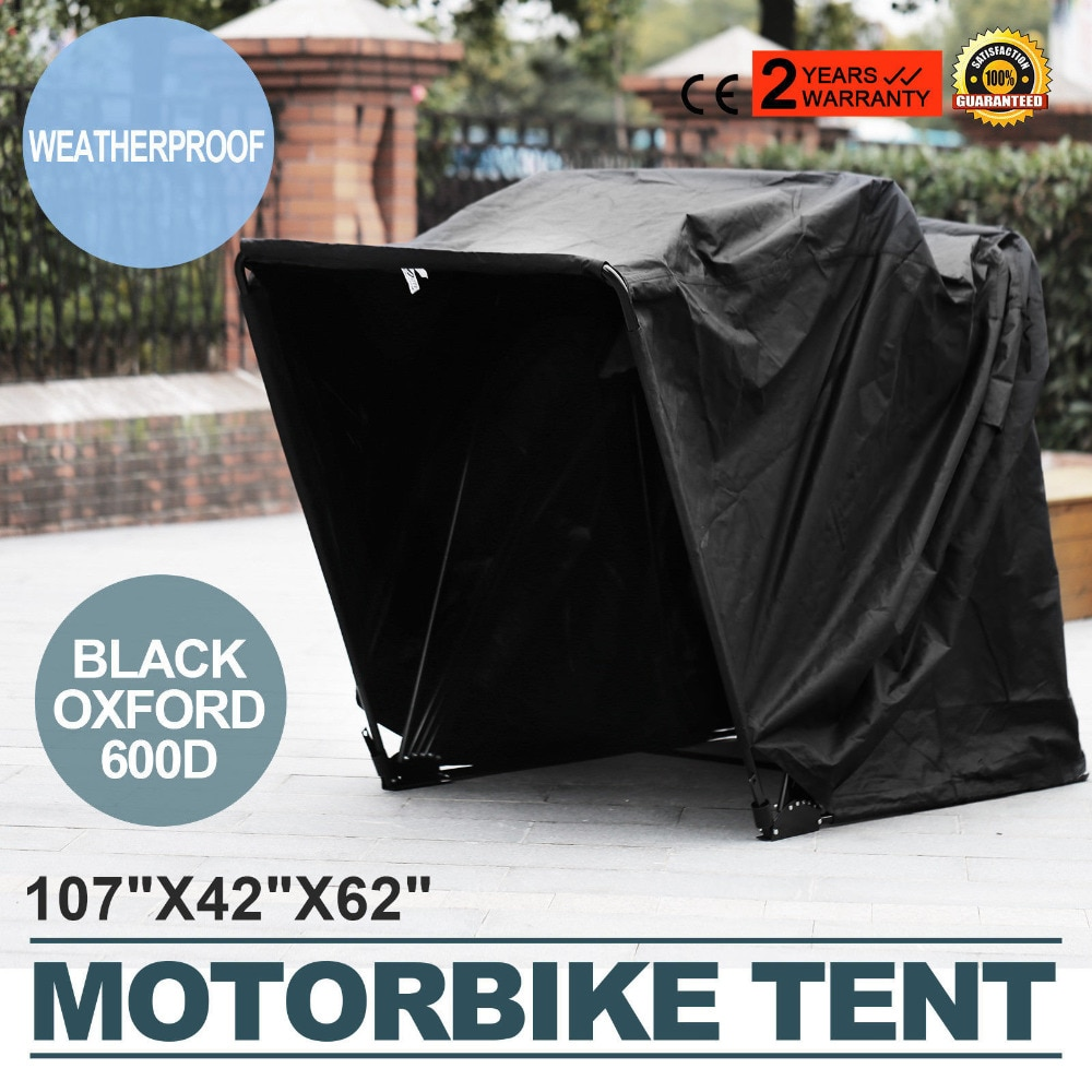 Foldable Motorcycle Garage In Black Oxford 600D 269cm x 104cm x 155cm Folding Garage Tent Awning Awn