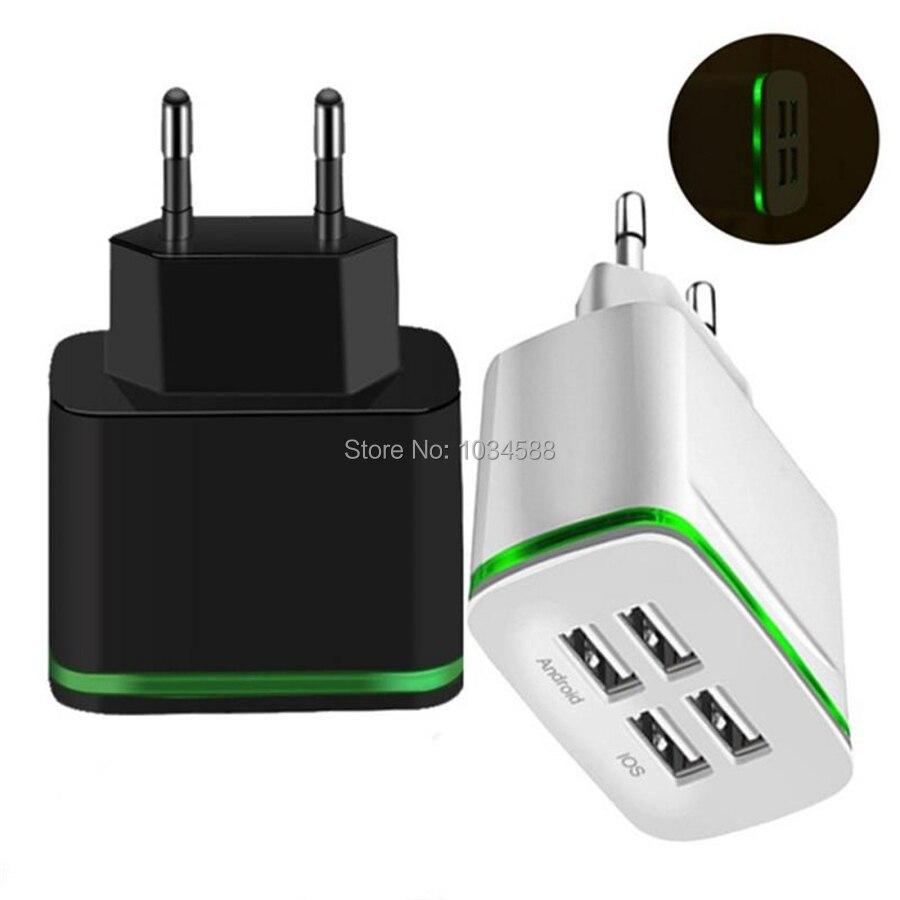 Cargador rápido V 4A, enchufe europeo de 4 puertos, adaptador de carga USB, cargador de pared de viaje con luz LED para Samsung, Iphone, android, teléfono, Pc