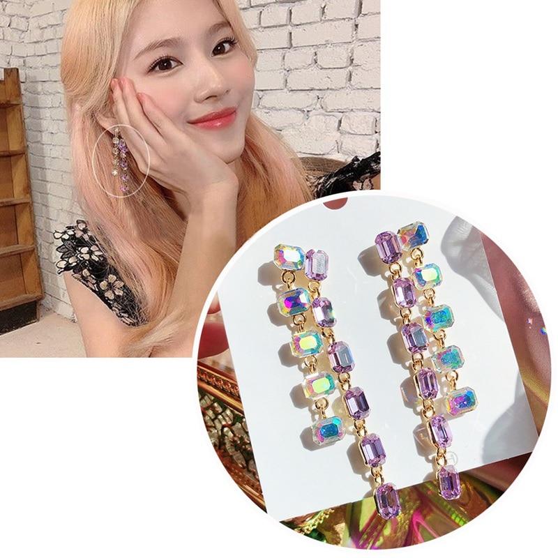 MENGJIQIAO Korean TV Star Purple Sqaure Crystal Tassel Drop Earrings For Women Elegant Boucle doreille Holiday Jewelry