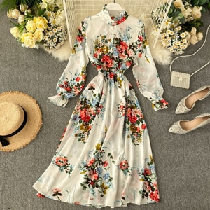 Elegant Korean Clothing Black Floral Vintage Dress Women 2021 Femme Robe Spring And Summer Bow Waist Slim  Chiffon Dress Female