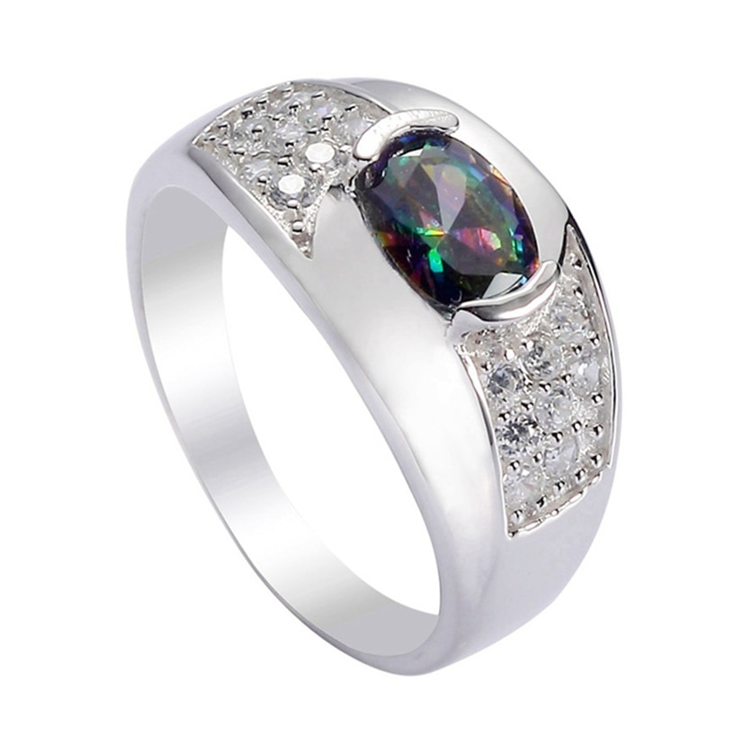 Eulonvan Luxus 925 sterling silber Hochzeit ringe Schmuck & Zubehör für frauen Regenbogen Zirkonia S-3721 größe 6 7 8 9 10
