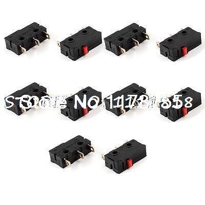 10 Uds 125 250 VAC 5A 3 pines SPDT botón sin bloqueo Mini microinterruptor