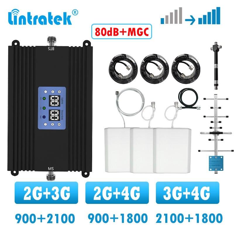 Lintratek 80db banda dupla 3g 4g repetidor gsm 900 lte 1800 4g amplificador de reforço de sinal 2g 3g amplificador celular 3 antena kit