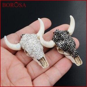 BOROSA Longhorn Resin Horn Cattle Pendants Bull Cattle Pendant Paved Black/White Zircon for Necklace Making JAB338