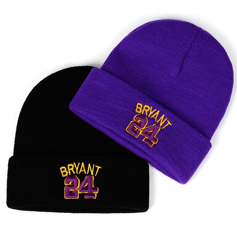 Gorro para invierno bordado BRYANT 24 algodón 3D Mamba tejido Kobe Bryant sombrero Skullies Beanie sombrero al aire libre de Hip Hop