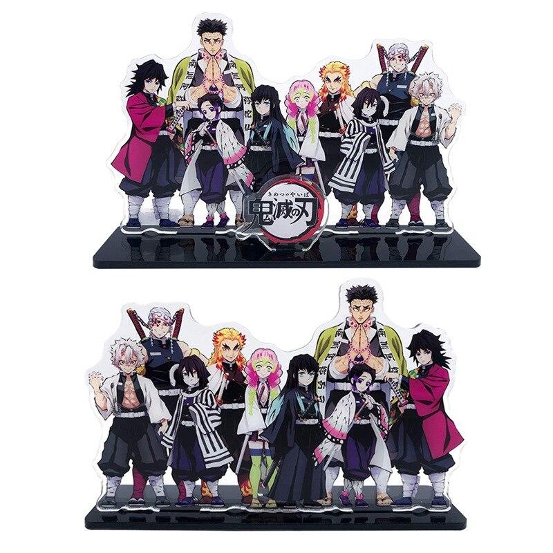 Japão anime demon slayer kimetsu nenhum yaiba acrílico suporte figura modelo placa desktop decoração conjunto de artigos de papelaria