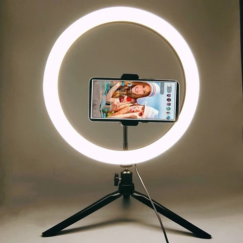 6/10 Inch Ring Light with Tripod Phone Stand Photography Lighting Led Selfie Ringlight Ring Lamp Bluetooth Remote Youtube Tiktok