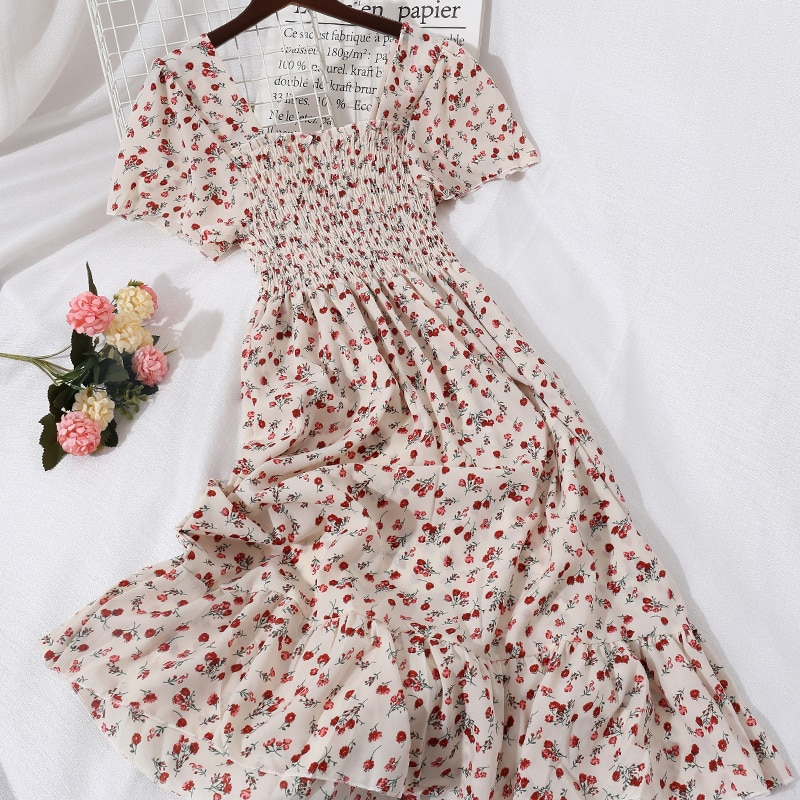 Elegant Summer Women Square Collar Short Flare Sleeve Ruffle Dress Lady Floral Elastic Slim Waist Pullover Party Midi Chic Dress