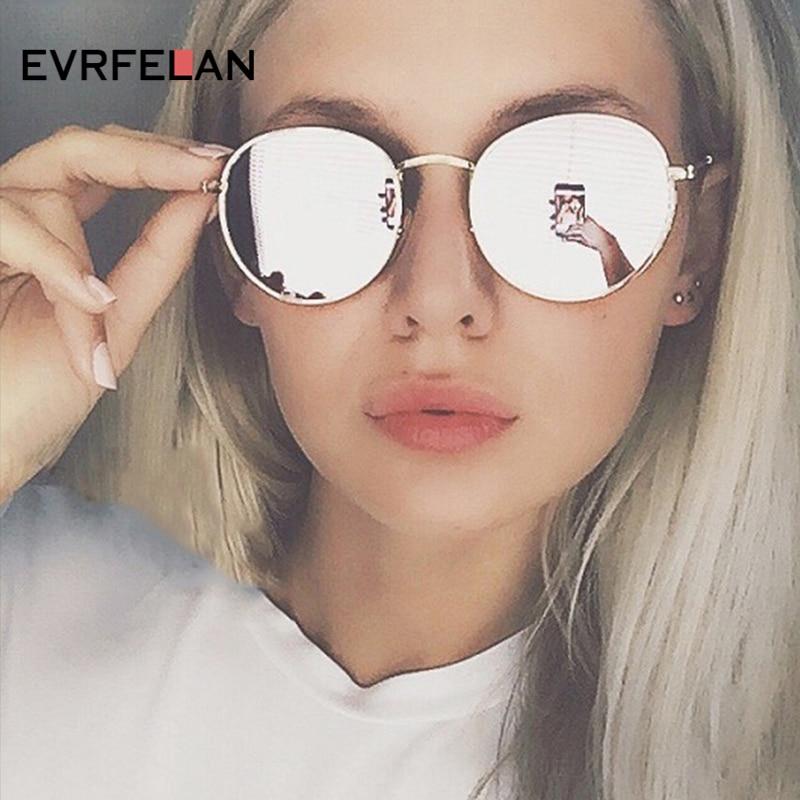 Evrfelan Fashion Women Colorful Round Sunglasses Metal Frame Sun Glasses Men Female High Quality UV400 oculos de sol