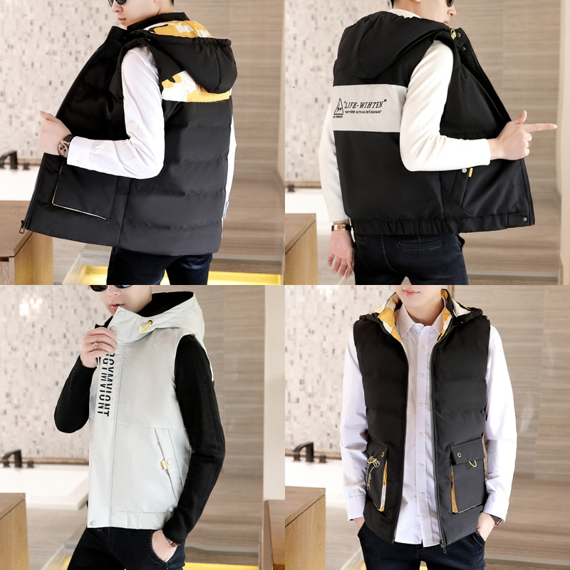 2019 nuevo chaleco hombres Otoño e Invierno versión coreana tendencia autocultivo chaqueta de forro de algodón atractivo estilo chino negro