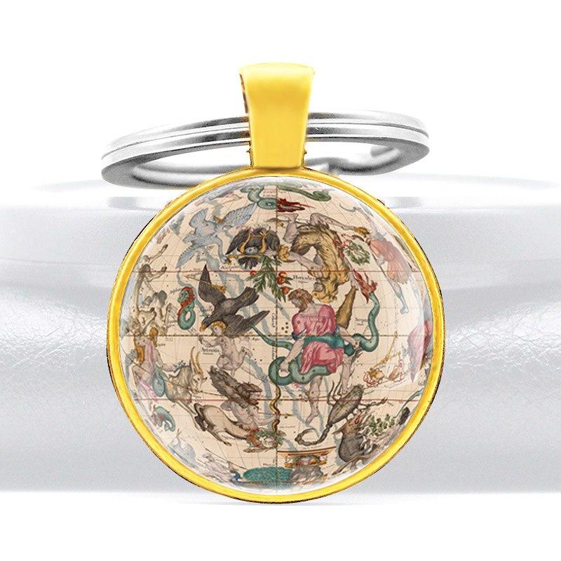 Unikalna mapa astronomii szklana kopuła breloczek klasyczny Retro mężczyźni kobiety biżuteria prezenty breloki