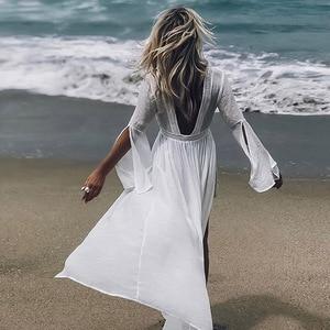 Beach Dress White Bikini Transparent Cover Up Beach Wear Women Swimwear Cover Ups Dresses for The Beach Summer Dress Beach
