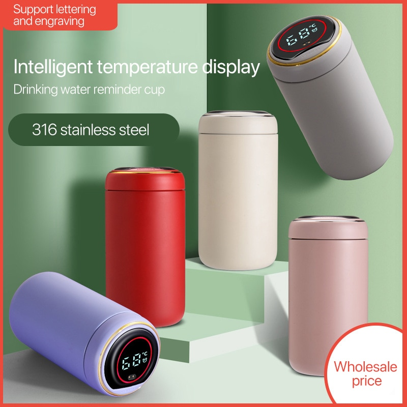 ترمس ذكي من الفولاذ المقاوم للصدأ ، كوب ماء ، عرض درجة الحرارة ، بدون هواء ، سفر ، قهوة ، ماء