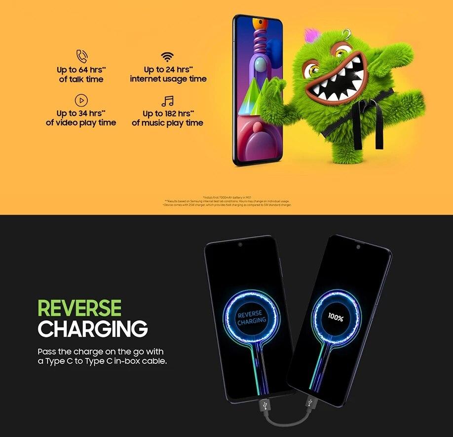 Фото5 - Оригинальный смартфон Samsung Galaxy M51 M515F-DSN глобальная версия 128 Гб ПЗУ 8 ГБ ОЗУ 6,7 дюйма 7000 мАч NFC Snapdragon 730G