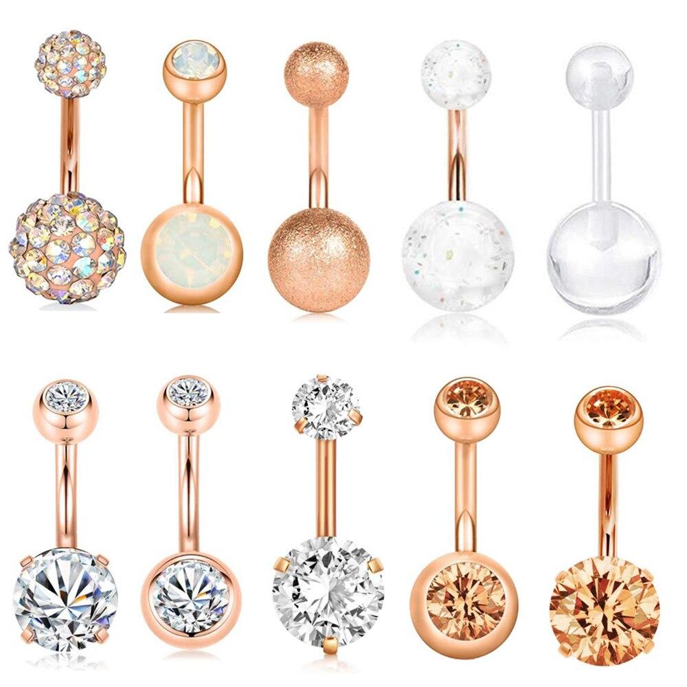 Tiancfbyjs 1-10 uds 14G anillo de ombligo de acero quirúrgico anillos de oído ombligo CZ Piercing para el cuerpo joyería 10 mm Bar para las mujeres Nombril