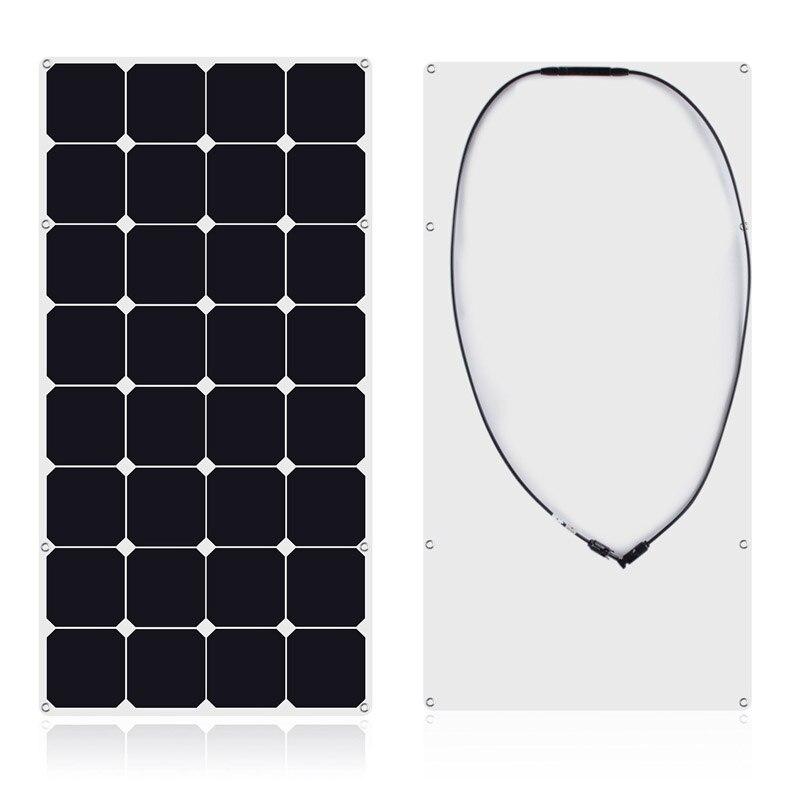 أسود المحمولة Sunpower مرنة اليدوية مقاوم للماء 200 واط الخلايا الشمسية البنك