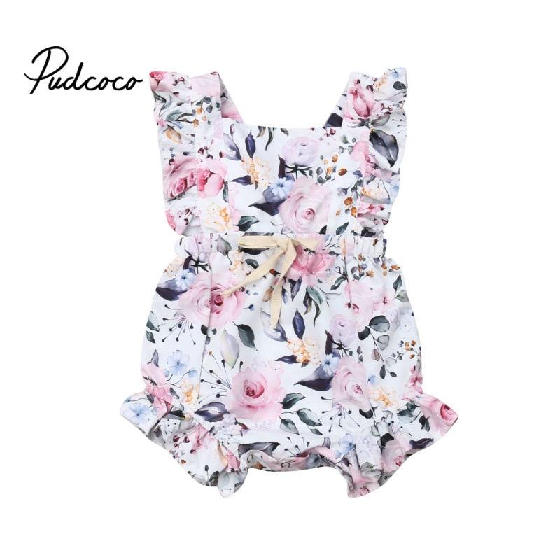 Pudcoco 2019 moda lindo niño pequeño niños bebé niña flor volantes mameluco lazo vendaje Floral verano blanco encaje-up mono ropa