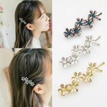 Barrette à cheveux en alliage avec strass, 1 pièce, bandeau en forme de fleur de prunier, épingle à cheveux en cristal, accessoires pour femmes