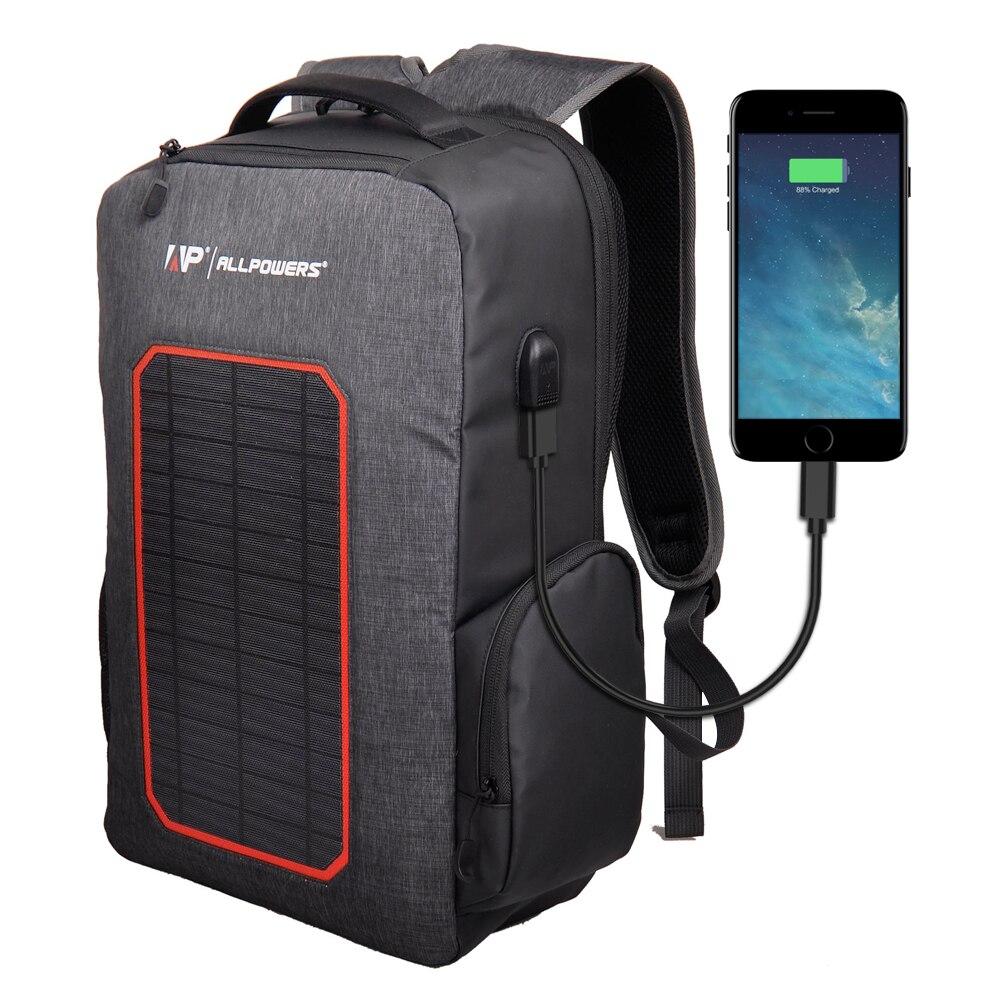 Banco de energía Solar ALLPOWERS 6000mAh mochila Solar integrada mochila Solar a prueba de agua mochila de carga Solar para teléfonos móviles y tabletas.