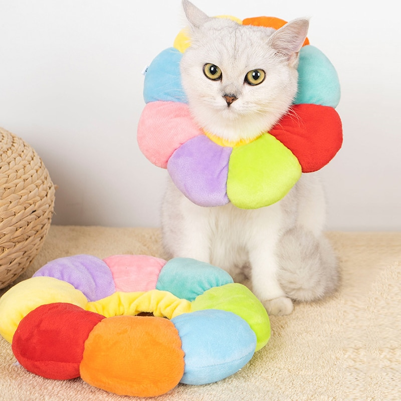 Sunflower Rainbow Elizabethan Collar Anti-Lick Cat Recovery Collar Wound Healing Protection Pet Collars Pretty Pet Supplies prevent hinder pet dog cat cervical collar injured surgery wound training infection lick bite grab e collars recovery sleeve